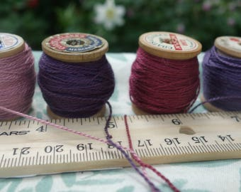 Silk Embroidery Thread Natural Dye on 4 Small Vintage Wooden Spools Pink Rose-Violet Purple 20 Yards on Each Spool