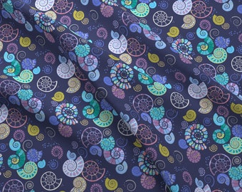 Moody Shell Fabric - Ammonites By Coggon (Roz Robinson) - Summer Beach Shell Cotton Fabric By The Yard With Spoonflower