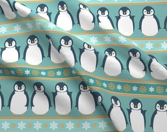 Penguin Stripe Fabric - Penguin Boogie By Alexiazotos - Baby Nursery Penguin Cotton Fabric By The Yard With Spoonflower
