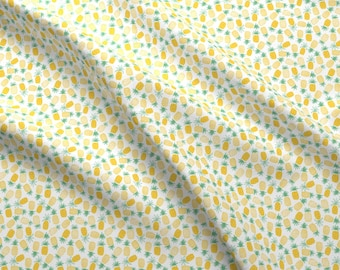 Yellow Pineapple Fabric - Pineapple Print (Small Scale) By Shelbyallison - Tropical Pineapple Cotton Fabric By The Yard With Spoonflower