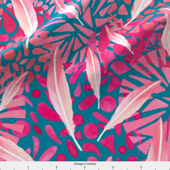 Pink Flamingo Fabric Flamingo Feather Flock By