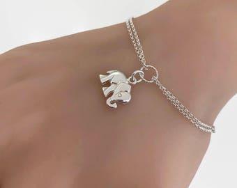 Double Chain Adjustable Elephant Bracelet in Sterling Silver