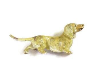 Enamel Weiner Dog Dachshund Brooch Vintage Figural