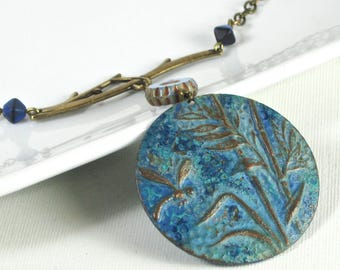 Dragonfly Pendant Necklace - Medallion, Verdigris Patina, Brass, Dragonfly Jewelry, Long Necklace, Blue Necklace