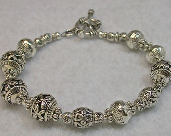 Vintage Silver Plated Ornate Bead Bracelet, Silver Plated Toggle Clasp