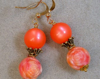 Vintage Coral Moonglow Bead Dangle Drop Earrings ,Vintage 1950s Pink Lucite Rose Flowers, Gold Filled French Ear Wires