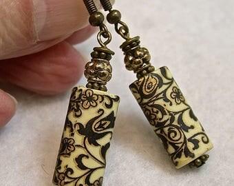 Vintage RARE Japanese Tensha Black White Gold Rectangular Bead Earrings,Antiqued Brass French Ear Wires