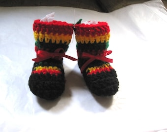 Rastafarian Unisex Baby 0-6 months Jamaica Marley Gift Crochet Multicolor Stripe Reggae West Indies Black Red Green Gold Red Satin Ribbon,