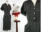 Vintage 1950s Dress - Striking Charcoal and White Pinstripe Shirtwaist 50s Day Dress with Bold Pocket Accents and Rhinestone Buttons