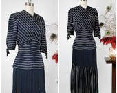 Vintage 1940s Dress - Sophisticated Navy Blue and White Striped Rayon 40s Dress with Wrap Bust and Pleated Skirt
