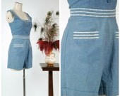 Vintage 1950s Playsuit Set - Late 40s or Early 50s Chambray Cotton Nautical Shorts Set with Top