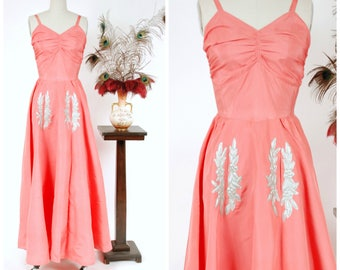Vintage 1930s Dress - Gorgeous Coral Pink Acetate Summer Party Dress with Silver Floral Accents