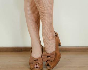 50% CLEARANCE Vintage 1940s Shoes - Versatile Golden Brown Suede Bow Vamp Peeptoe 40s Slingback Platform Heels Size 7.5 AAA