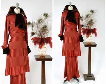RESERVED on Layaway- Vintage 1930s Dress - Rare NRA Label Rust Red Striped Silk Bias Cut 30s Gown with Velveteen Trim A Marion Prince Frock