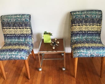 Pair of Russell Wright for Conant Ball Armless Chairs Vintage Mid Century