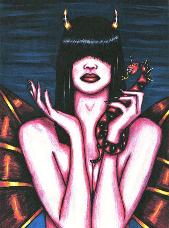 Nude oracle demon Woman print original art fantasy witch goth colored pencil artwork Elizavella Bowers
