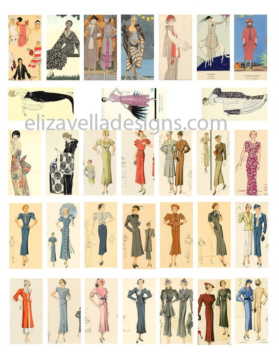 1920s 1930s fashion women domino COLLAGE SHEET 1 x 2 inch clothes digital download graphics images printable for pendants magnets pins
