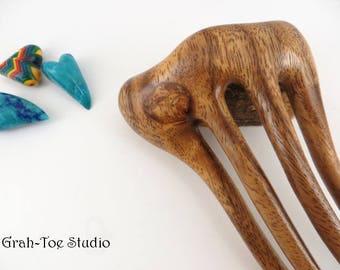 Threnody Tusk Hair Fork, Albizia Wood Hair Fork, Wooden Hairfork, Hair Forks, Grahtoe Studio, Hair Stick, Gift for her, Mothers Day,Man Bun