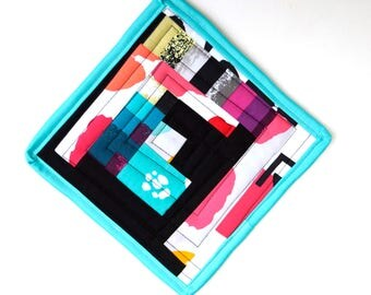 Abstract Patchwork Quilted Pot Holder in Bright and Colorful Fabrics