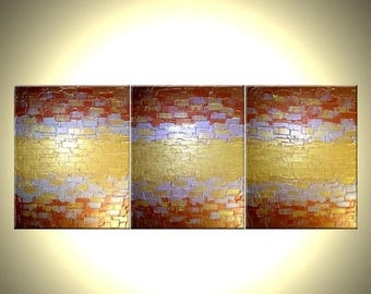 22% Off, Original Abstract Gold Painting, Palette Knife Art, ORIGINAL Bronze PAINTING Lafferty - 48x20