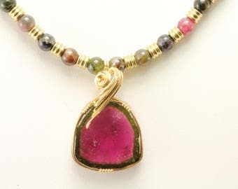 Watermelon Tourmaline Necklace. Listing 542752583