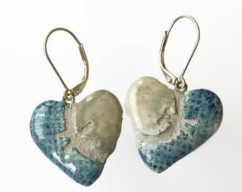 Silver Heart Earrings - Mosaic Tile - Blue Denim = Interchangeable - Boho Gypsy - Sutured Heart - Stitched Heart
