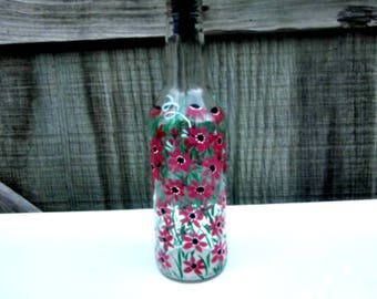 Oil and Vinegar Bottle, Dish Soap Dispenser,  Recycled Clear Beer Bottle, Painted Glass, Shades of Berry Flowers