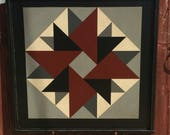 PriMiTiVe Hand-Painted Barn Quilt, Small Frame 2' x 2' - Double Aster Pattern (Gray Version)