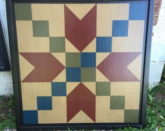 PRiMiTiVe Hand-Painted Barn Quilt - 3' x 3' Stepping Stone Pattern