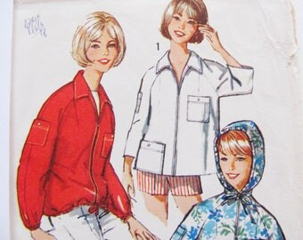 36 Bust, Vintage Parka or Jacket Pattern / 1960's Simplicity 5440 / 1964 / Easy to Sew / Hoodie Pattern / 60's Sewing Pattern