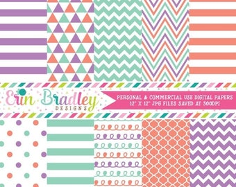 80% OFF SALE Digital Paper Pack in Purple Orange & Aqua Blue Stripes Doodles Triangles Chevron Polka Dotted Patterns Commercial Use