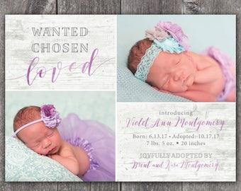 Wanted. Chosen. Loved. - Digital or Printed Custom Adoption Announcement, any color