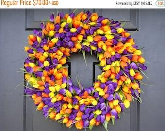 SUMMER WREATH SALE Outdoor Decor- Spring Wreath- Tulip Wreath- Wall Decor - Etsy Wreath- Home Decor
