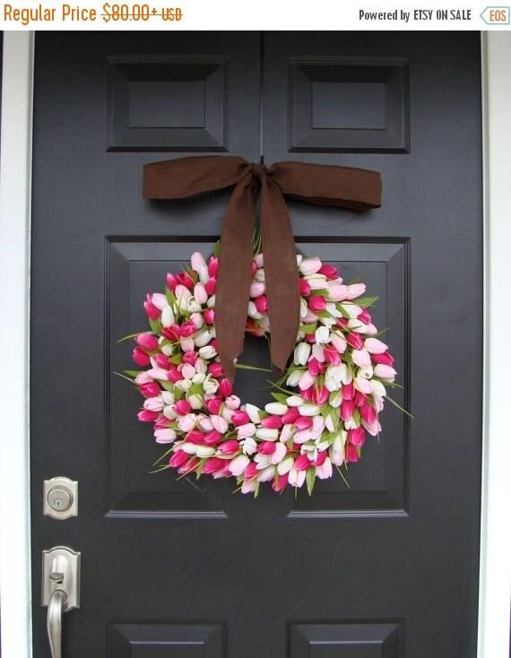 SUMMER WREATH SALE Mini Tulip Wreath with Burlap Bow, Valentine's Day Wreath, Spring Wreath for Door, The Original Tulip Wreath
