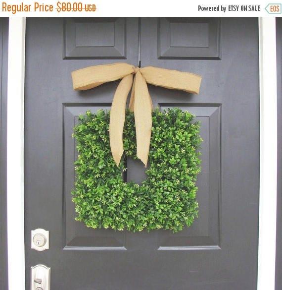 SUMMER WREATH SALE Square Boxwood Wreath- Spring Wreath- Housewarming Gift- Kitchen Decor- Shabby Chic Wreath- Cottage Chic- 16 Inch Thin Wr