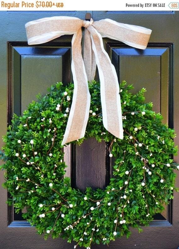 SUMMER WREATH SALE Boxwood Berry Wreath- Cream Berry Wreath, Year Round Wreaths, Wedding Decoration, Spring Wreath, Summer Wreath, Door Wrea