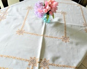 Gold Tablecloth, Hand Embroidery, Cutwork Tablecloth, Linen Tablecloth, Gold Embroidery,