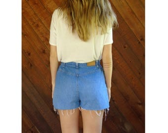 High Waist Cut Off Denim Shorts - Vintage 90s - S/M