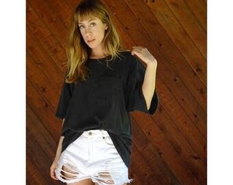 20% off SUMMER SALE. . . Faded Black Pocket Oversized T Shirt - Vintage 90s - Xl