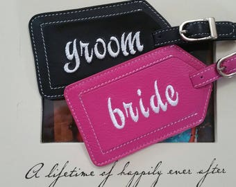 Luggage Tag--Bride and Groom Luggage tags with lowercase font