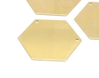 Brass Hexagon Necklace Pendant, 8 Raw Brass Hexagon Blanks With 2 Holea (35x0.80mm) A0839