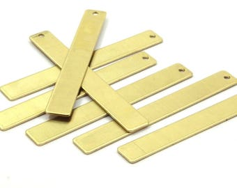 Brass Stamping Blank, 10 Raw Brass Stamping Blank Pendant With 1 Hole (54x7mm) B0184