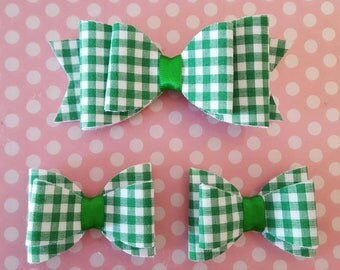 Gingham hair bows - Bows hair accessory - Hair clip -  School hair bow set