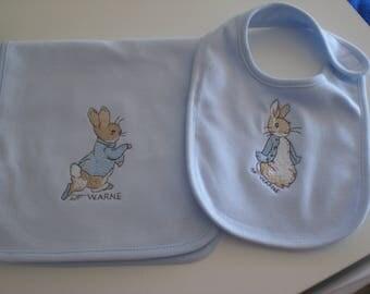 Peter Rabbit/Beatrix Potter baby bib and burp cloth gift set