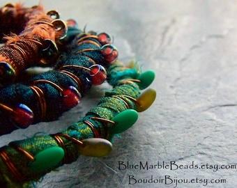 Boho Bracelet, Stacking Bracelet, Silk Wrapped Bracelet, Silk Sari Jewelry, Bohemian Jewelry, Bangle Bracelet, Your Choice, 1 Bangle