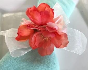 Napkin Ring - Peach Cherry Blossom cluster- Wedding Decoration - Wedding Showers - Easter