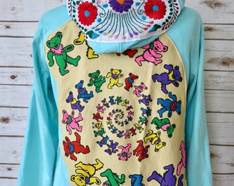 Grateful Dead Dead Head Grateful Dead Dancing Bears Hoodies Sweater Sweatshirt Mexican Embroidered Size XL/2XL