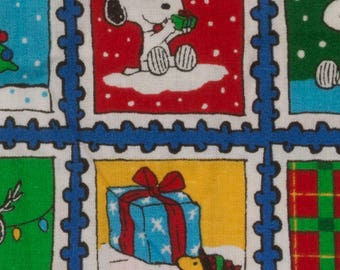 Peanuts Christmas fabric One generous fat quarter featuring Snoopy and Woodstock Large postage stamps