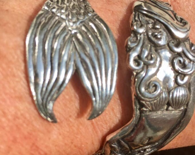 Mermaid bracelet pewter wrap cuff mermaid lover beach lover gift idea unique birthday anniversary BeachHouseDreams Outer Banks OBX