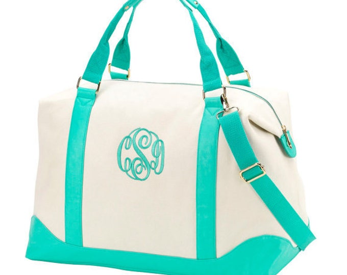 Mint green duffel weekender bag totes canvas mermaid beach wedding bags bridesmaids bridal party gifts Outer Banks BeachHouseDreamsHome OBX